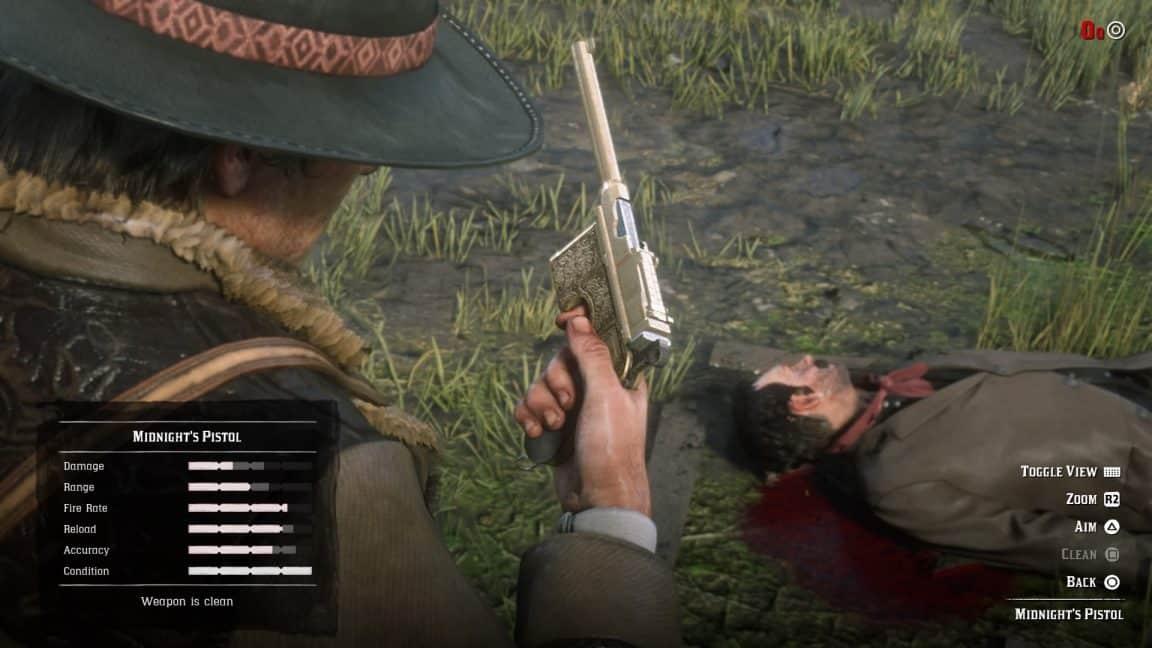 как убрать оружие в rdr2